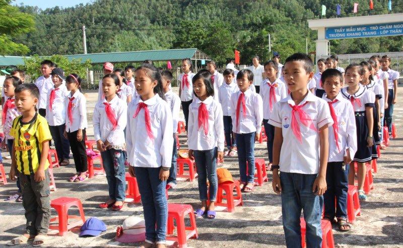 buoi le chao co - Tả buổi lễ chào cờ đầu tuần lớp 5 ở trường em
